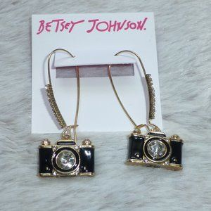 Betsey Johnson Black Camera Dangle Earrings New!